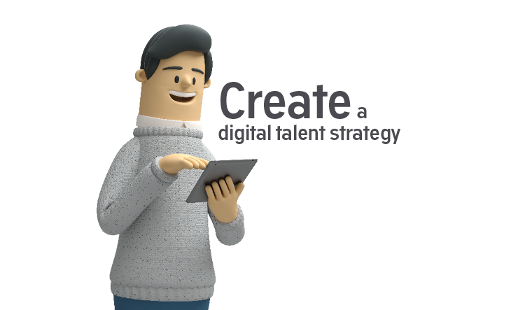Person holding tablet reading a digital talent strategy