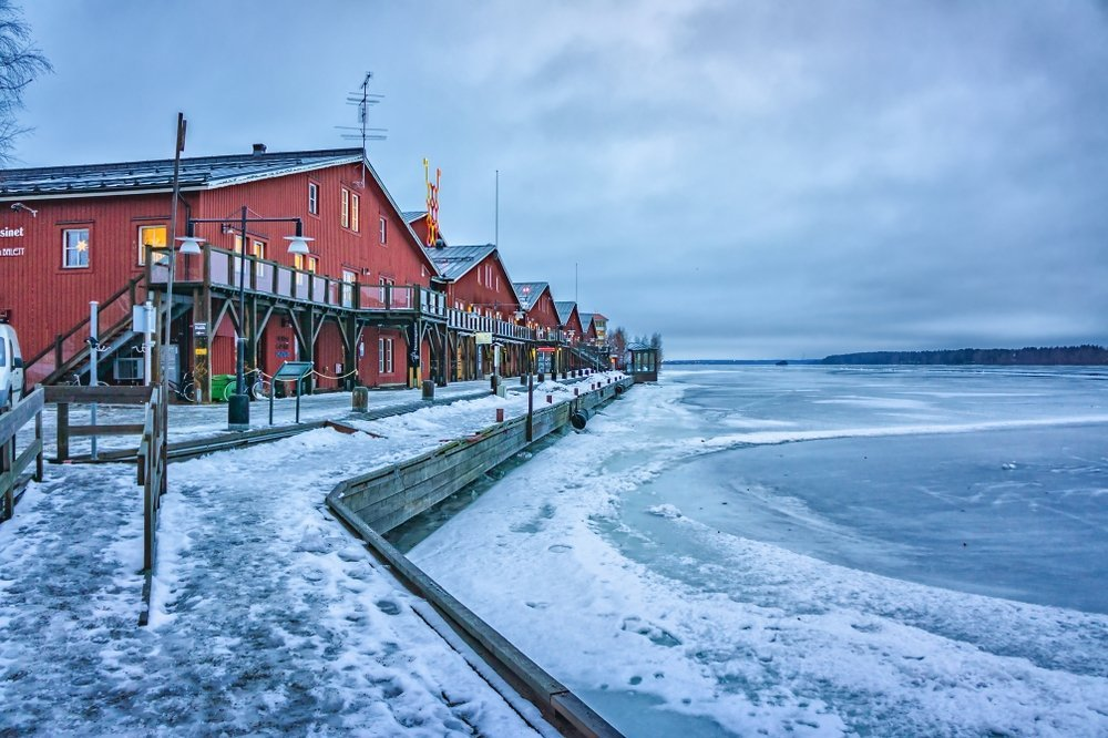 Image shows coastal part of Lulea city in the cold. The Swedish tech scene in Lulea is the second biggest earner for Swedish GDP